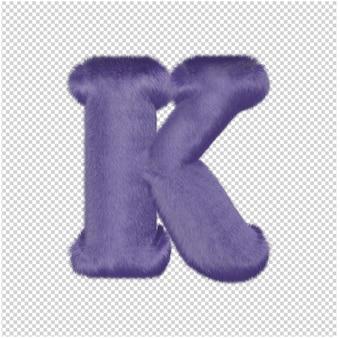 De letters zijn gemaakt van paars bont. 3d hoofdletter k