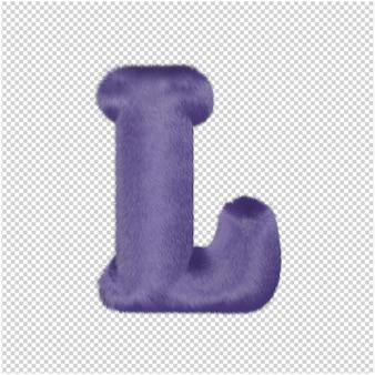 De letters zijn gemaakt van paars bont. 3d-hoofdletter l