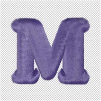 De letters zijn gemaakt van paars bont. 3d hoofdletter m