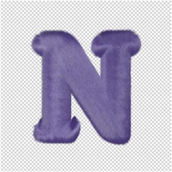 De letters zijn gemaakt van paars bont. 3d-hoofdletter nr