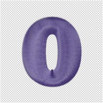 De letters zijn gemaakt van paars bont. 3d hoofdletter o