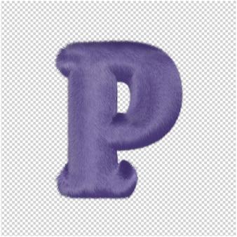 De letters zijn gemaakt van paars bont. 3d-hoofdletter p