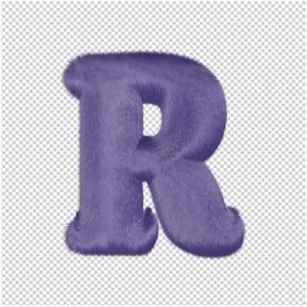 De letters zijn gemaakt van paars bont. 3d-hoofdletter r
