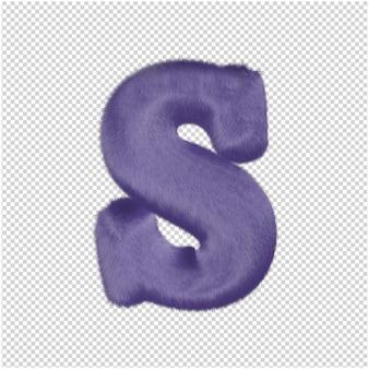 De letters zijn gemaakt van paars bont. 3d-hoofdletter s