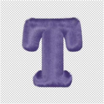 De letters zijn gemaakt van paars bont. 3d-hoofdletter t