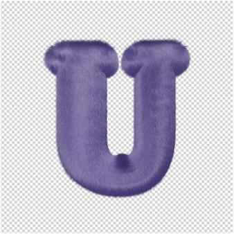 De letters zijn gemaakt van paars bont. 3d hoofdletter u