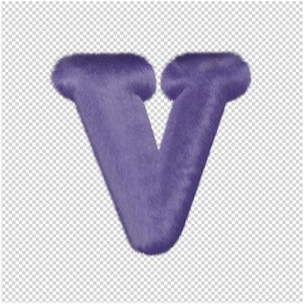 De letters zijn gemaakt van paars bont. 3d-hoofdletter v