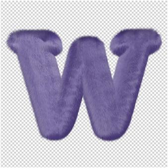 De letters zijn gemaakt van paars bont. 3d-hoofdletter w