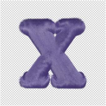 De letters zijn gemaakt van paars bont. 3d-hoofdletter x
