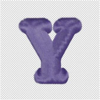De letters zijn gemaakt van paars bont. 3d-hoofdletter y
