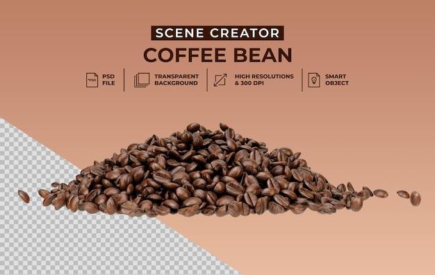 De maker van de vers gebrande scène van koffiebonen