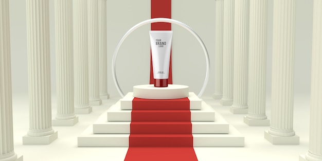De moderne kosmetische malplaatje witte studio met 3d podium geeft terug