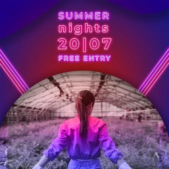 De nachtbanner van de zomeravonden in neonlichtenstijl