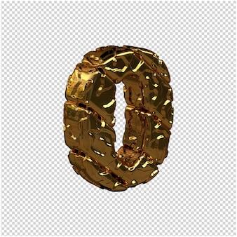 De ongepolijste gouden cijfers draaiden naar rechts. 3d-nummer 0