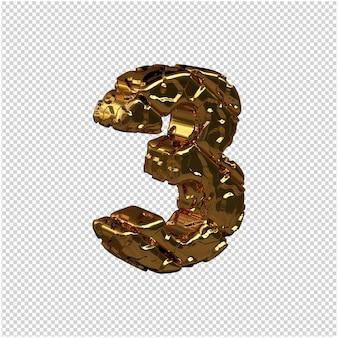 De ongepolijste gouden cijfers draaiden naar rechts. 3d-nummer 3