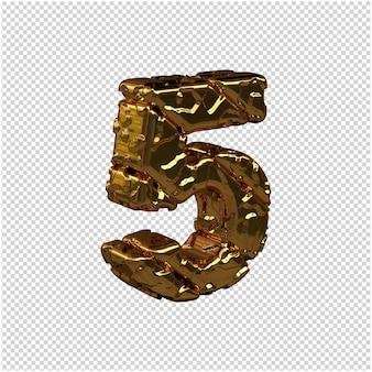 De ongepolijste gouden cijfers draaiden naar rechts. 3d-nummer 5