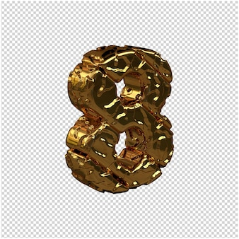 De ongepolijste gouden cijfers draaiden naar rechts. 3d-nummer 8