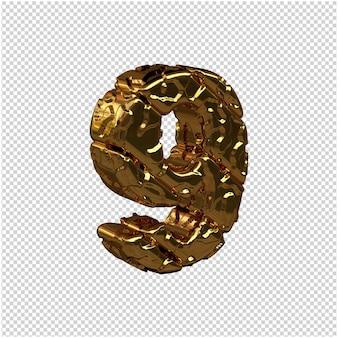De ongepolijste gouden cijfers draaiden naar rechts. 3d-nummer 9