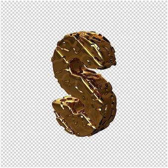 De ongepolijste gouden letters draaiden naar links. 3e hoofdletter s
