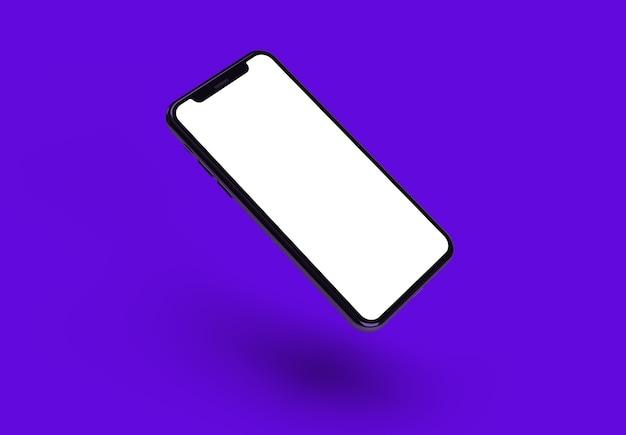De originele smartphone met schermmodel op paarse achtergrond