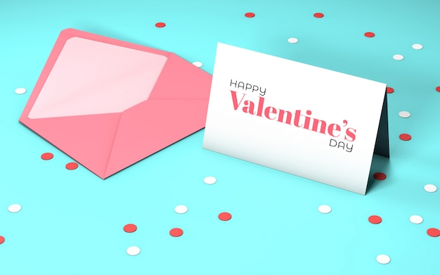 De partijuitnodiging van de valentijnskaart met envelop