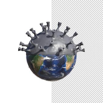 De planeet aarde verandert in het covid-19-virus