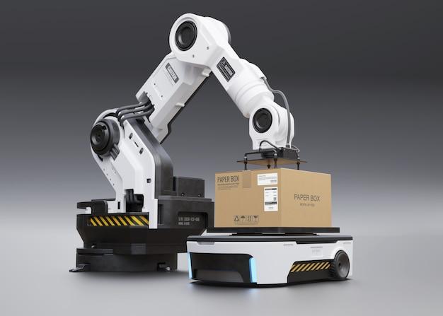 De robotarm pakt de doos op bij agv