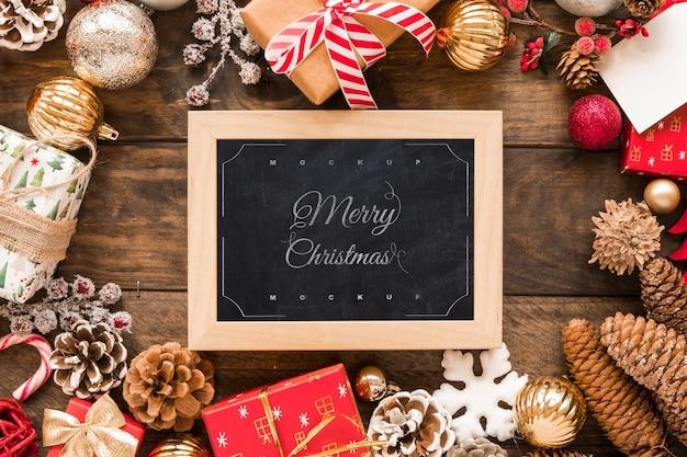 De samenstelling van kerstmis van de hoogste mening met leiboutup