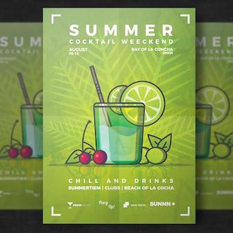 De sjabloon van de cocktail van de zomer