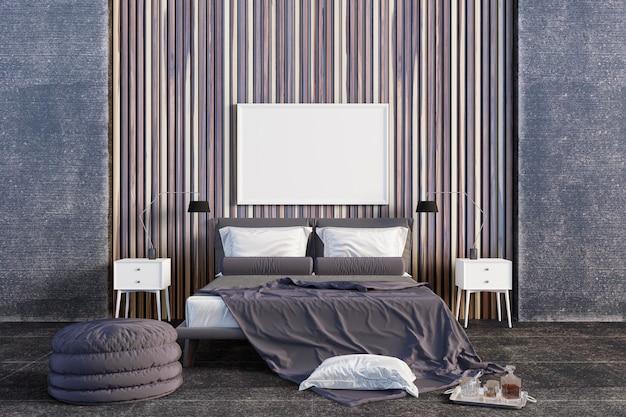 De slaapkamer met accent is gemaakt van hout