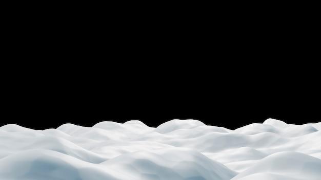De sneeuwbank op zwarte 3d achtergrond geeft terug