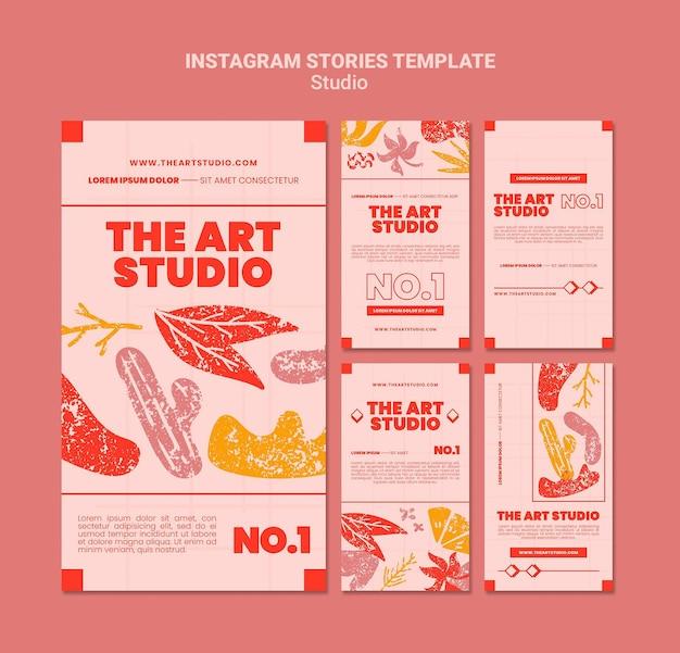 De sociale media-verhalen van de kunststudio