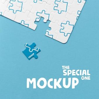 De speciale mock-up uit één stuk van het puzzelconcept
