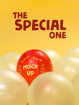 De speciale rode ballon mock-up
