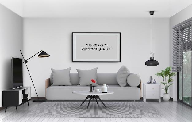 De spot op affichekader in binnenlandse 3d woonkamer en bank, geeft terug