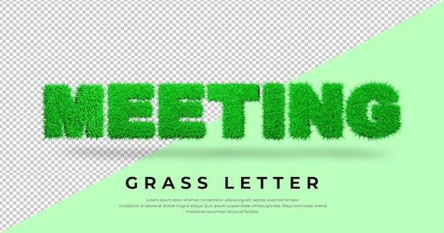 De tekst van de vergaderbrief met 3d-grasontwerp