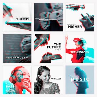De toekomst van technologie vector bewerkbare sociale media sjabloon met dubbele kleur blootstelling effect set