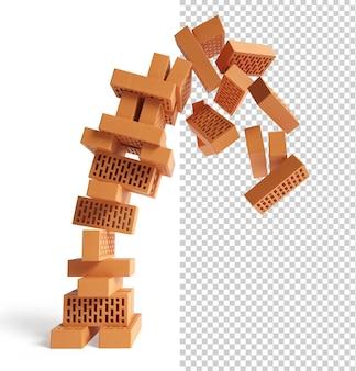 De val van de toren van bakstenen geïsoleerd abstract bedrijfsconcept 3d-rendering