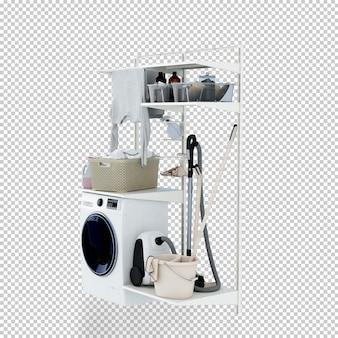 De wasmachine in 3d geeft terug