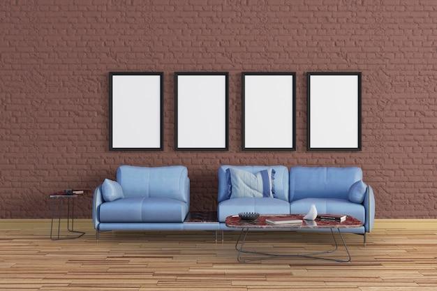 De woonkamer heeft bruine tinten met canvas frame mockup set