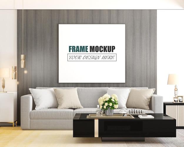 De woonkamer is ontworpen in een frame-mockup in moderne stijl