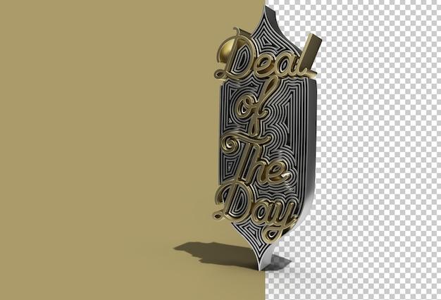 Deal van de dag kalligrafische tekst 3d render transparant psd-bestand.