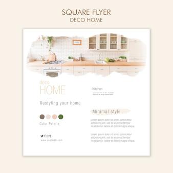Deco home concept vierkante flyer-sjabloon
