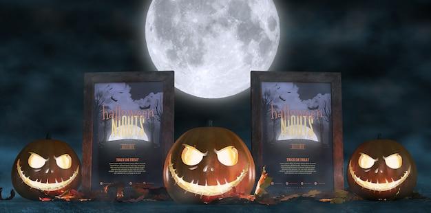 Decoración aterradora para halloween con carteles de películas de terror enmarcados y calabazas