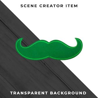 Decoración de bigote de papel aislado con trazado de recorte.