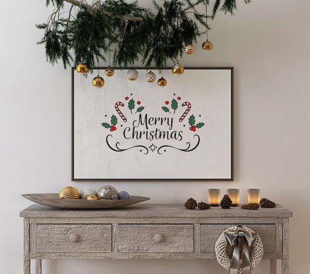 Decoración de concepto navideño con marco de cartel de maqueta