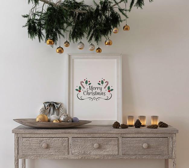 Decoración de concepto navideño con marco rústico de maqueta en mesa de consola