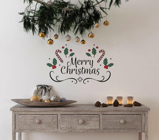 Decoración de concepto navideño con pared de maqueta