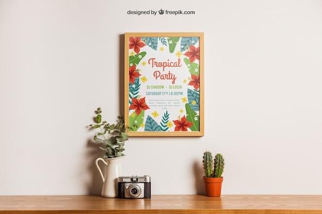 Decoración floral de mockup de marco