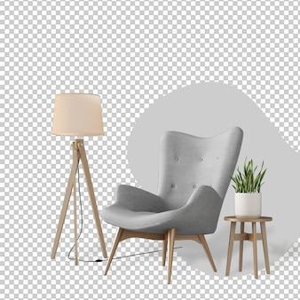 Decoración de interiores en representación 3d